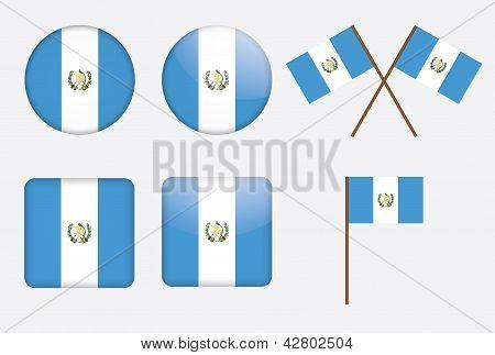 Crachás com a bandeira da Guatemala