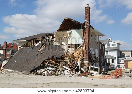 Damaged beach house in devastated area four months after Hurricane Sandy