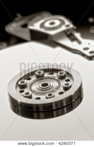 Platter And Hub In An Open Computer Hard Drive