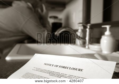 Real Estate Forelosure Notice And Man Crying
