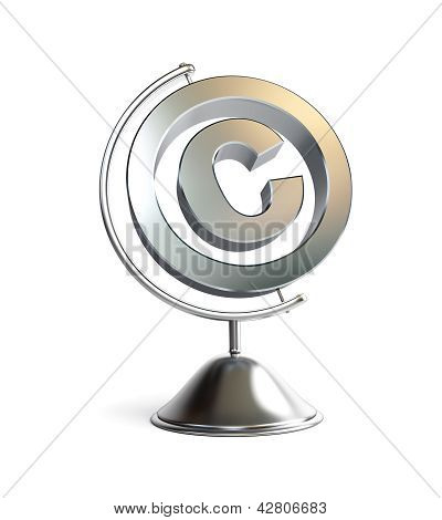 Globe Copyright Sign 3D Illustrations On A White Background