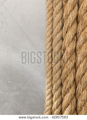 ship rope on metal texture background
