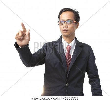 Young Asian Business Man Pointing By Right Hand Finger Isolated White