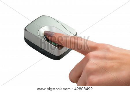 Finger On Biometric Scanner Isolated On White