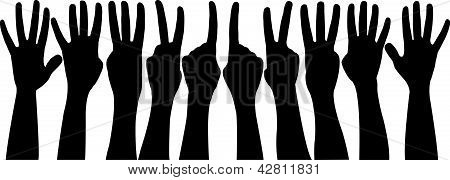 numbers between 1 and five, hands vector