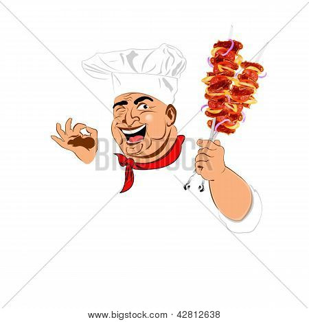 Funny Chef and delicious hot skewers of lamb
