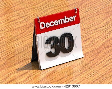 Calendar On Desk - December 30Th