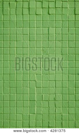 Green Color Small Square Wall Tiles Pattern Background.