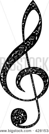 Treble Clef Design By Musical Notes
