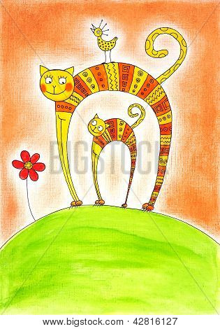 Cat and kitten child's drawing watercolor painting on paper