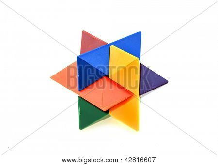 Colorful plastic puzzle on white background