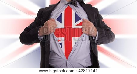 Business Man With English Flag T-shirt