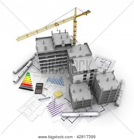 Building under construction with crane, on top of blueprints, mortgage applications and energy rating