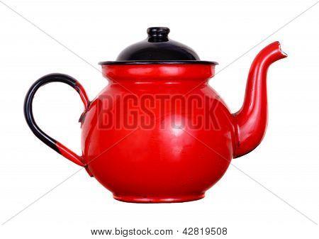 Vermelho pote de chá