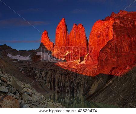 Dramatical sunrise in Torres del Paine national park, Patagonia, Chile