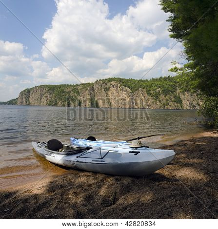Kayaks At Bon Echo Cliffs