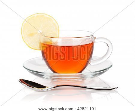 Glass cup of black tea with lemon slice and spoon. Isolated on white background