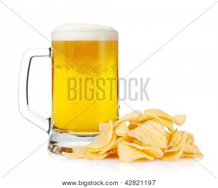 Beer mug and pile of potato chips. Isolated on white background