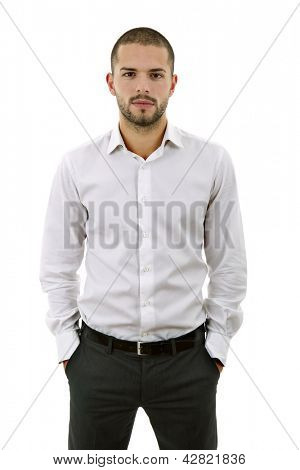 young casual man portrait, isolated on white