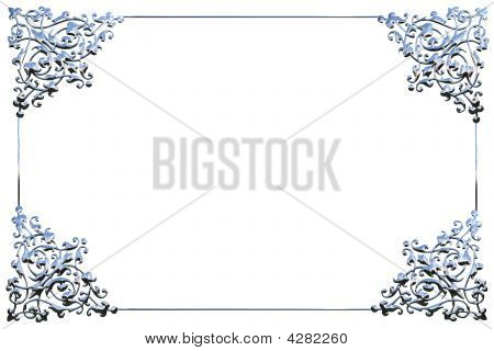 Abstract Chrome Metal Floral Frame Concept Over White Background