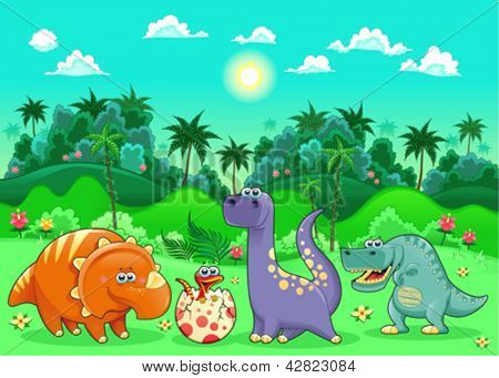 Funny dinosaurs in the forest. Cartoon and vector illustration