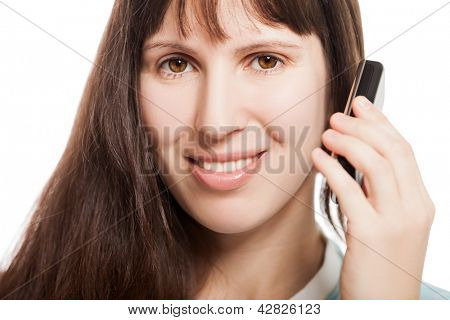 Beauty smiling woman hand holding mobile communication phone