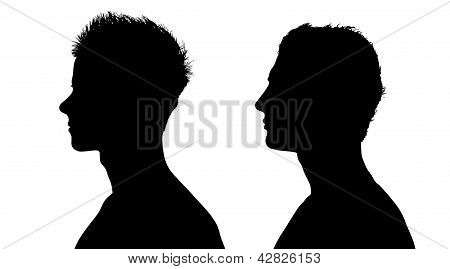 Two Profiles Of Young White Men With Short Hair
