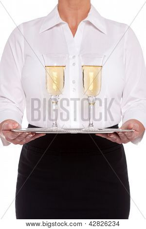 Waitress serving glasses of Champagne on a silver tray, isolated on a white background.