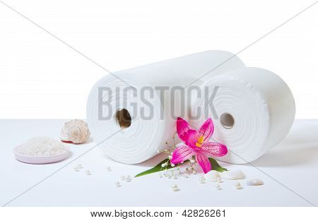 Spa Accessories: White Towels