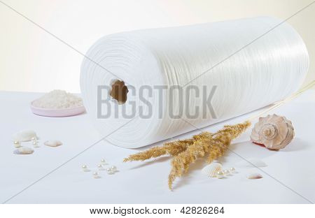 White Rolled Towel And Salt