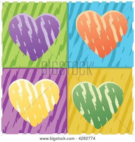 Four Hearts Grunge