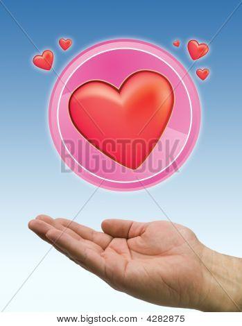 Hand Heart Circle Blue