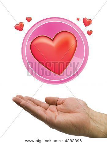 Hand Heart Circle White