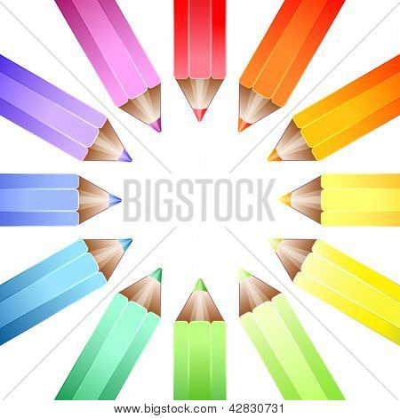 A cirlcle of coloured pencils forming a colour wheel on a white background. EPS10 vector format