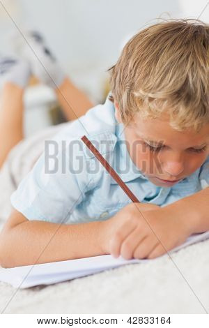 Boy writing lying on the floor on a carpet