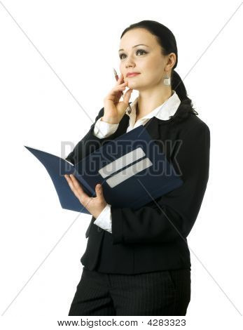 Portrait Of Young Business Woman Thinking, On The White Background
