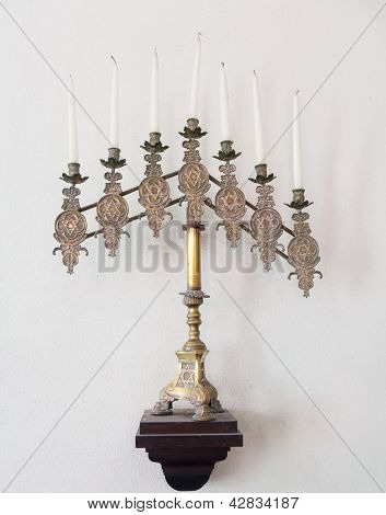 Antique Jewish Menorah And Candles
