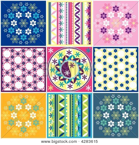 Variations Of Seamless Colored Pattern