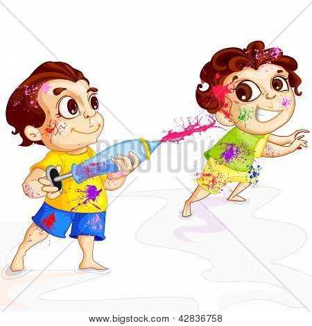 Kids playing Holi Festival