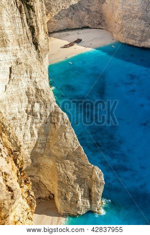 View Of The Shipwreck On The Beach Navagio In Zakynthos, Greece