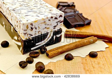 Soap homemade with chocolate and cinnamon