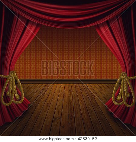 Retro Red Curtains With Wood Floor