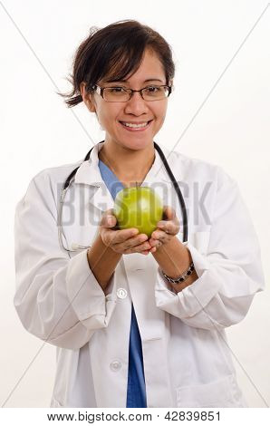 Attractive Brunette Filipino Asian Medical Healthcare Working Woman