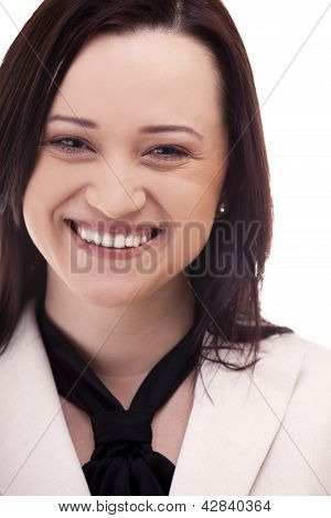 Close Up Of A Gorgeous Businesswoman In Suite Isolated On White