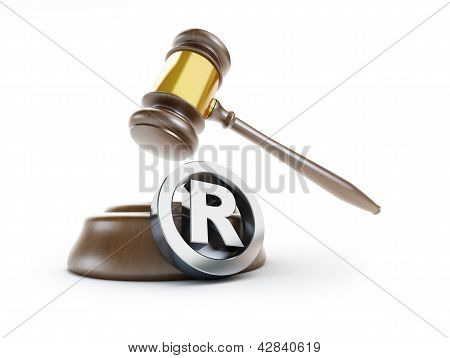 Gavel Registered Trademark Sign 3D Illustrations On A White Background