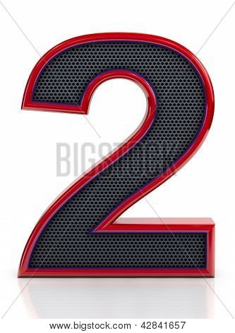 Number 2 symbol with grille mesh inside isolated on white background.