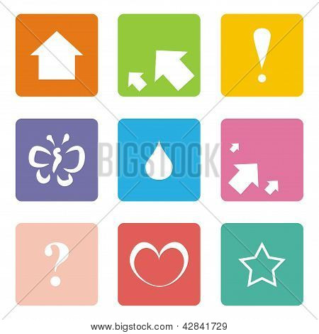 Vector icons or button set isolated on white background with arrow, left, right, up, question mark