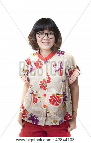 Close Up Face Of Forty Years Old Asian Woman Wearing Eyes Glasses Isolated White