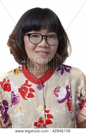 .close Up Face Of Forty Years Old Asian Woman Wearing Eyes Glasse