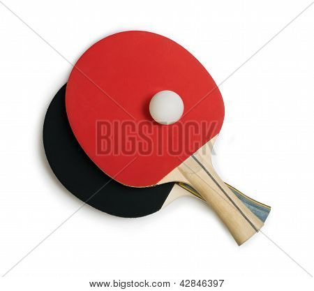 Tennis Rackets For Ping Pong White Isolated